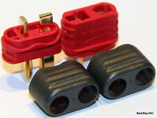 New Style T-Plug (Deans Style) Connectors: 1 Male / Female Pair - No Heat Shrink
