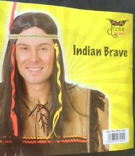 Native American Indian Brave Wig Headband Feather Fancy Dress Halloween party