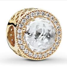 NEW Genuine Pandora Charm 750843CZ 14ct Yellow Gold Radiant Hearts 585 ALE