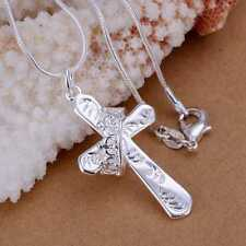 Fashion 925Sterling Solid Silver Jewelry Crown Cross Chain Pendant Necklace P104