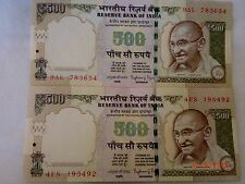 - INDIA PAPER MONEY - 2  'MG'  NOTES - RS. 500/- 2013,2014 -RAGHURAM.G.R # E23