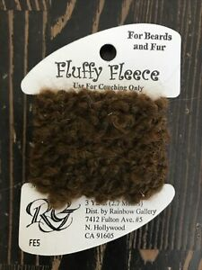 Rainbow Gallery FLUFFY FLEECE Thread FE5 Dark Brown For Beards Fur New 3Yrd Card