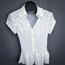 Sunny Taylor Womens Top Shirt Medium Sheer Short Sleeve Button Blouse Career