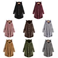Women Winter Warm Fluffy Coat Overcoat Button Jacket Tops Outwear Loose Sweater
