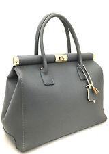 Chicca Borse borsa elegante bag donna pelle manici tracolla grigio grigia 8005