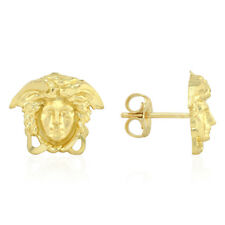 10k Yellow Gold Diamond Cut Medusa Head Face Stud Push Back Earrings