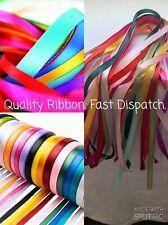 "Coloured Satin Ribbons Mix Lot/Bundle 10 Mixed 1 Metre strands. 1/4 "" 6mm Crafts"