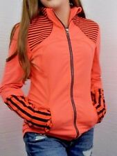 Lululemon EUC Stripe Forme Womens Neon Orange Black Striped Athletic Jacket Sz 6