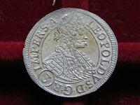 Bohemia. 1696-GE 3 Kreuzer..  Prague Mint..  gEF-aUNC.. Near Full Lustre