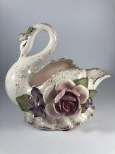 Vintage Porcelain Swan Vase w Flowers Vee Jackson Pasadena California