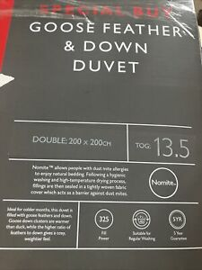 BNIB John Lewis Special Buy Goose Feather&Down Double 13.5 Tog Duvet/RRP£65