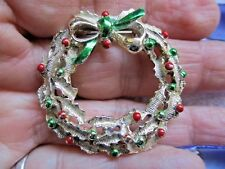 Tone Christmas Wreath Pin Brooch Vintage Shiny Signed Gerry'S Silver