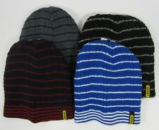 Adults Mens Knitted Beanie Knit Winter Hat Gift Striped Black Navy Blue Red Grey