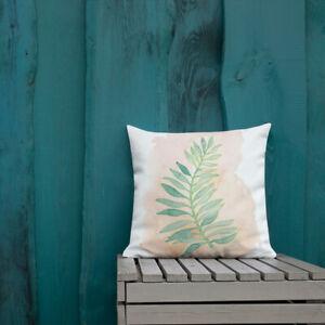 Palm Frond Premium Pillow - Watercolor Art Reversible Palm Springs Theme