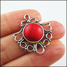 6 New Round Flower Charms Tibetan Silver Tone Red Turquoise Pendants 26x29mm
