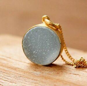 14k Gold Light Baby Blue Druzy Pendant Necklace