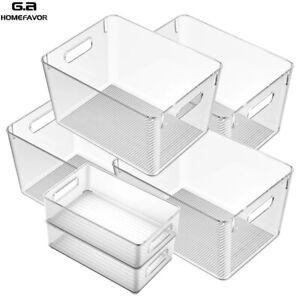 Kühlschrank Organizer Bins Clear Pantry Lebensmittel Box, 6PCS (4*Groß, 2*Klein)
