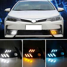 For Toyota Corolla 2017 White+Blue+Turn Signal Daytime Runing Light LED Fog Lamp