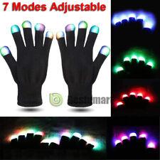 10Pair Led Rave Flashing Gloves Glow 7 Modes Light Up Finger Lighting Xmas Black