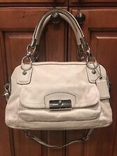 Coach Kristin White Leather Handbag Purse Double Zip Satchel Shoulder F22304