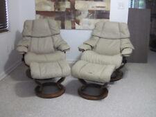 Ekornes Stressless Recliner Chair Modern Leather LARGE RENO PAIR Desert