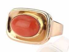 Art Deco 585 Rot Gold Sizilianische Lachs Koralle Cabochon Damen Ring !
