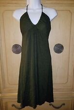 ANTHROPOLOGIE MICHAEL STARS DEEP OLIVE GREEN METALLIC HALTER DRESS SIZE OSFM