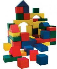 50PCS WOODEN BLOCKS Construction Wooden Building Blocks Bricks PLAYSET XMAS TOYS