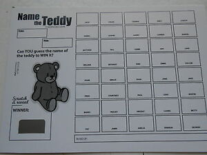 NAME THE TEDDY SCRATCH CARDS (B&W) X 1 ( 40 SPACES) EASY WAY TO RAISE £20