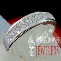 MENS LADIES REAL STERLING SILVER WHITE GOLD FINISH WEDDING ENGAGEMENT RING BAND