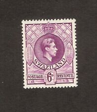 SWAZILAND 1938 6d DEEP MAGENTA GVI DEFINITIVE SG34 MINT