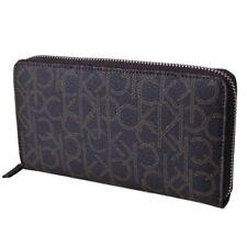 Calvin Klein Womens Zip Around Continental Wallet Organizer Monogram Brown 79468