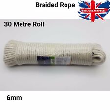 6mm Rope 100% Cotton Braided all Size White Garden Cord Pet Safe Roll 30mtr Soft
