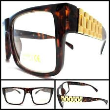 VINTAGE HIP Clear Lens EYE GLASSES Brown Tortoise FASHION Frame Gold Chain Arms