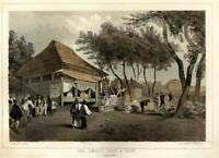 Fire House & Engine Yokohama Japan 1856 Perry Expedition litho view print