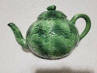 Rare Vietri Foglia Fresca Majolica Leaf  Teapot with Acorn Lid