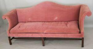 Kittinger Williamsburg Mahogany Chippendale Sofa Rose Velvet Fabric WA 1005
