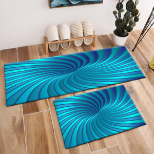 Creative Abstract Blue Swirl Pattern Area Rugs Living Room Kitchen Floor Mat Rug
