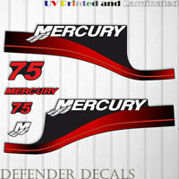 Mercury 75 HP Two Stroke outboard engine decal sticker RED set reproduction 75HP