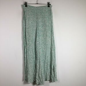 Little Lies Womens Pants Size 8 Green Floral Wide Leg Palazzo Rayon W28 inch