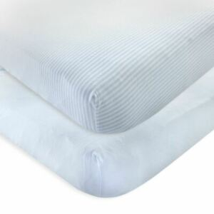 Touched By Nature Boy Organic Fitted Crib Sheets, 2-Pack, Powder Blue