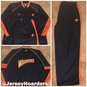 VTG AUTHENTIC GOLDEN STATE WARRIORS NBA REEBOK WARM-UP SUIT JACKET/ W PANTS 4XL