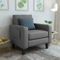 Single Sofa Chair with Thick Padded Back Cushion Accent Armchair Side Chair Grey