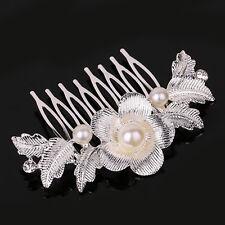 Bridal Silver Plated Diamante Crystal Pearl Leaf Flower Hair Combs Wedding Tiara