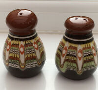 Vintage Salt & Pepper Pots 9 Cm. Brown Drip Glaze. Handmade. Studio Pottery.