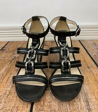 Coach Blake Black + Pewter Leather Strappy Heels Silver Link Chain Size 8.5M EUC