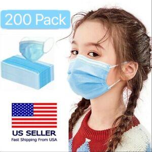 200Pcs Kids Children Unisex Face Mask Mouth & Nose Protector Respirator Masks