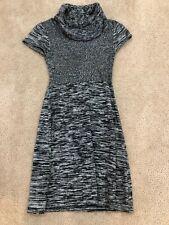 cd0a09e92 CALVIN KLEIN Sz XS de Punto Negro Gris Manga Corta Vestido Jersey de cuello  chimenea