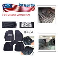 US 5pcs Universal Black Car Floor Mats FloorLiner Front Rear  All Season Carpet