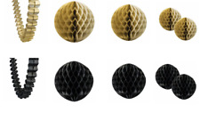 Black and Gold Party Decoration Kit Honeycomb Balls Garland New Years Birthday